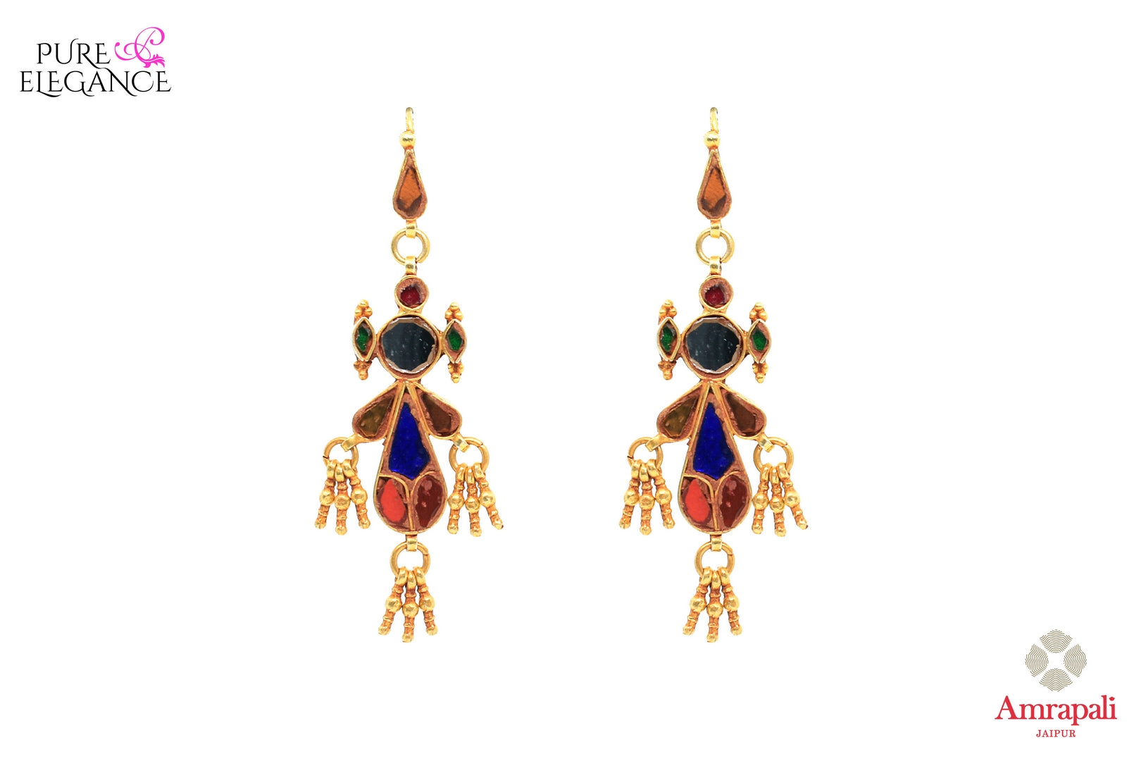 Buy silver gold plated multicolor glass earrings online in USA from Amrapali. If you are looking for Indian silver gold plated jewelry in USA, then Pure Elegance Indian fashion store is the place for you. A whole range of exquisite of traditional Indian jewellery is waiting for you on our shelves, you can also opt to shop online.-front view