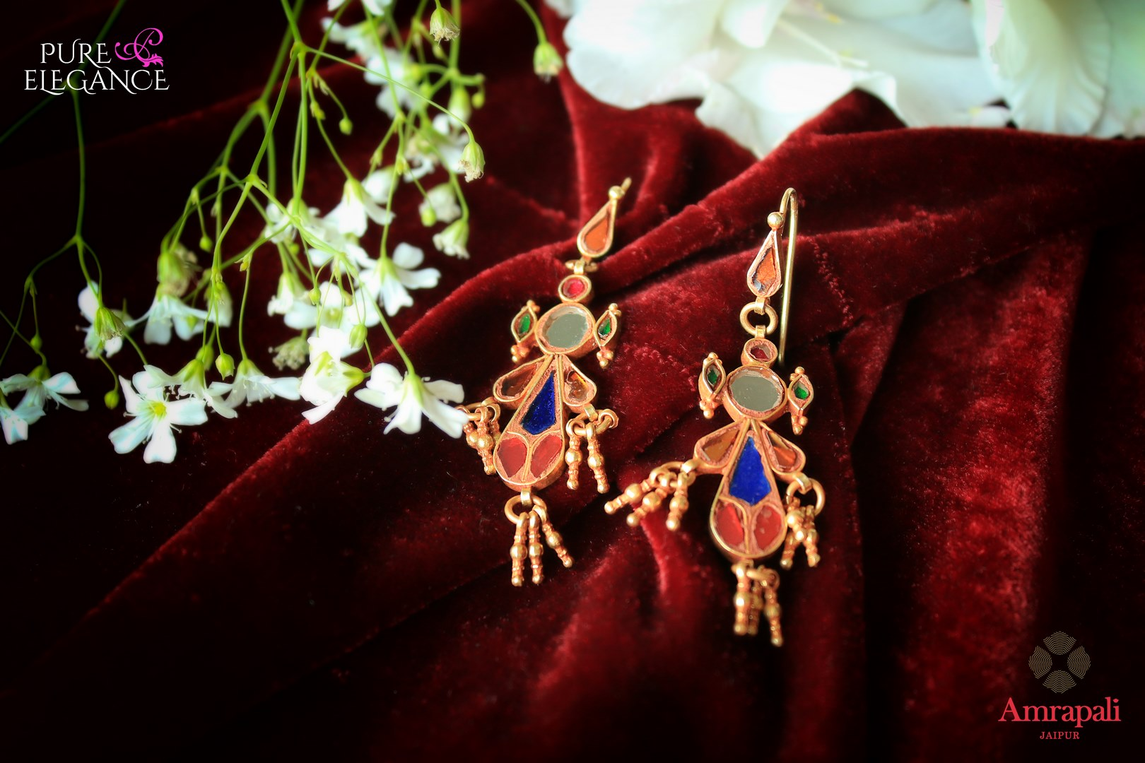 Buy silver gold plated multicolor glass earrings online in USA from Amrapali. If you are looking for Indian silver gold plated jewelry in USA, then Pure Elegance Indian fashion store is the place for you. A whole range of exquisite of traditional Indian jewellery is waiting for you on our shelves, you can also opt to shop online.-flat lay