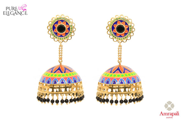 Buy silver gold plated multicolor enamel jhumki earrings online in USA from Amrapali. If you are looking for Indian silver gold plated jewelry in USA, then Pure Elegance Indian fashion store is the place for you. A whole range of exquisite of traditional Indian jewelry is waiting for you on our shelves, you can also opt to shop online.-front view