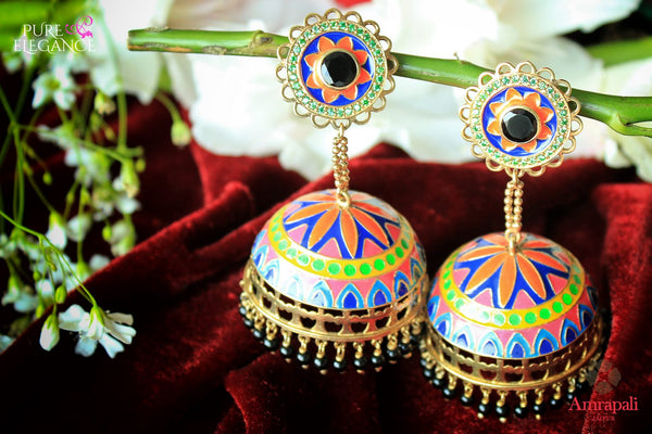 Buy silver gold plated multicolor enamel jhumki earrings online in USA from Amrapali. If you are looking for Indian silver gold plated jewelry in USA, then Pure Elegance Indian fashion store is the place for you. A whole range of exquisite of traditional Indian jewelry is waiting for you on our shelves, you can also opt to shop online.-flat lay
