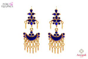 Buy tribal silver gold plated blue glass earrings online in USA from Amrapali. If you are looking for Indian silver gold plated jewelry in USA, then Pure Elegance Indian fashion store is the place for you. A whole range of exquisite of ethnic Indian jewelry is waiting for you on our shelves, you can also opt to shop online.-front view