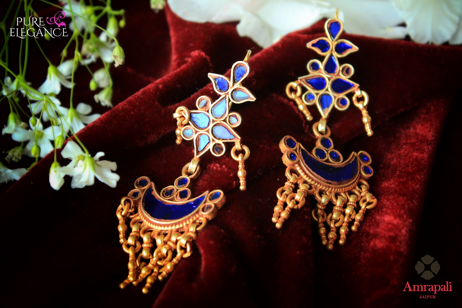 Buy tribal silver gold plated blue glass earrings online in USA from Amrapali. If you are looking for Indian silver gold plated jewelry in USA, then Pure Elegance Indian fashion store is the place for you. A whole range of exquisite of ethnic Indian jewelry is waiting for you on our shelves, you can also opt to shop online.-flat lay