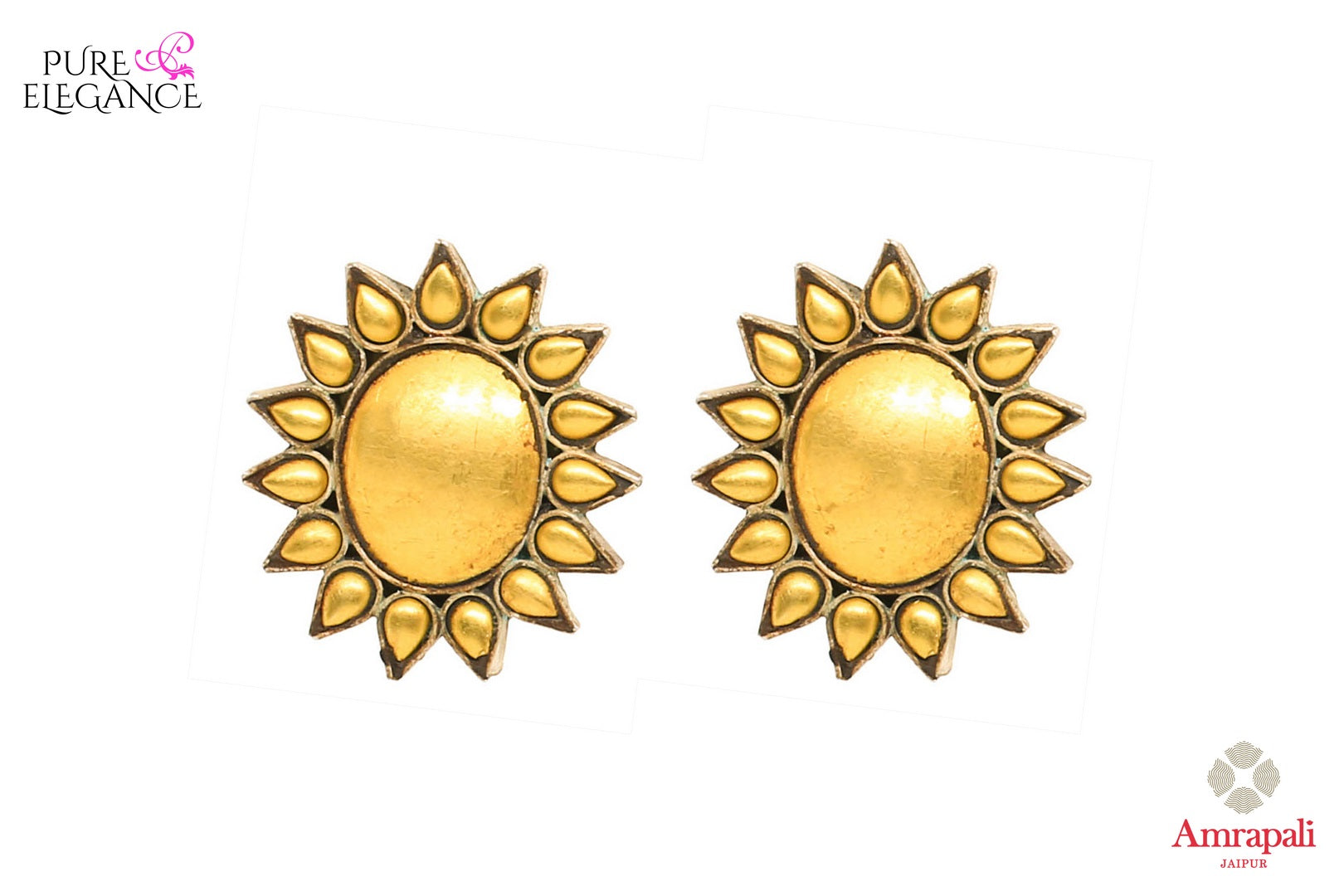 Buy elegant silver gold plated flower design stud earrings online in USA from Amrapali. If you are looking for Indian silver gold plated earrings in USA, then Pure Elegance Indian fashion store is the place for you. A whole range of exquisite of ethnic Indian jewelry is waiting for you on our shelves, you can also opt to shop online.-front view