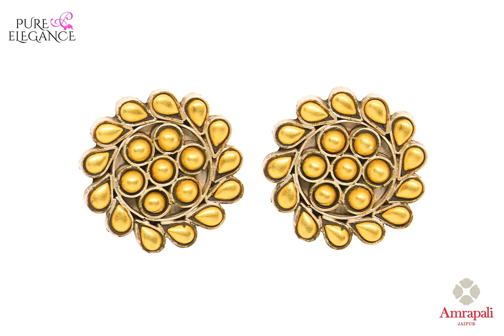 Silver gold plated flower design stud earrings buy online in USA from Amrapali. If you are looking for Indian silver gold plated earrings in USA, then Pure Elegance Indian fashion store is the place for you. A whole range of exquisite of ethnic Indian jewelry is waiting for you on our shelves, you can also opt to shop online.-front view