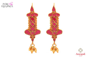 Buy beautiful silver gold plated pink glass earrings online in USA from Amrapali. If you are looking for Indian silver gold plated jewelry in USA, then Pure Elegance Indian fashion store is the place for you. A whole range of exquisite of ethnic Indian jewelry is waiting for you on our shelves, you can also opt to shop online.-front view