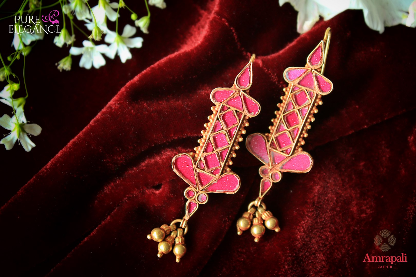 Buy beautiful silver gold plated pink glass earrings online in USA from Amrapali. If you are looking for Indian silver gold plated jewelry in USA, then Pure Elegance Indian fashion store is the place for you. A whole range of exquisite of ethnic Indian jewelry is waiting for you on our shelves, you can also opt to shop online.-flat lay