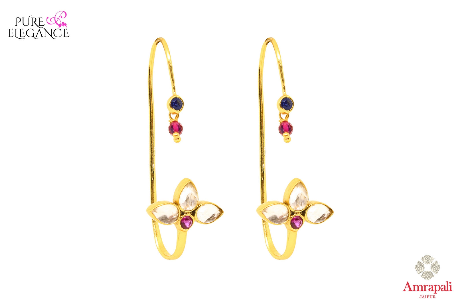 Buy silver gold plated hoop shape glass earrings online in USA from Amrapali. If you are looking for Indian silver gold plated jewellery in USA, then Pure Elegance Indian fashion store is the place for you. A whole range of exquisite of traditional Indian jewelry is waiting for you on our shelves, you can also opt to shop online.-front view