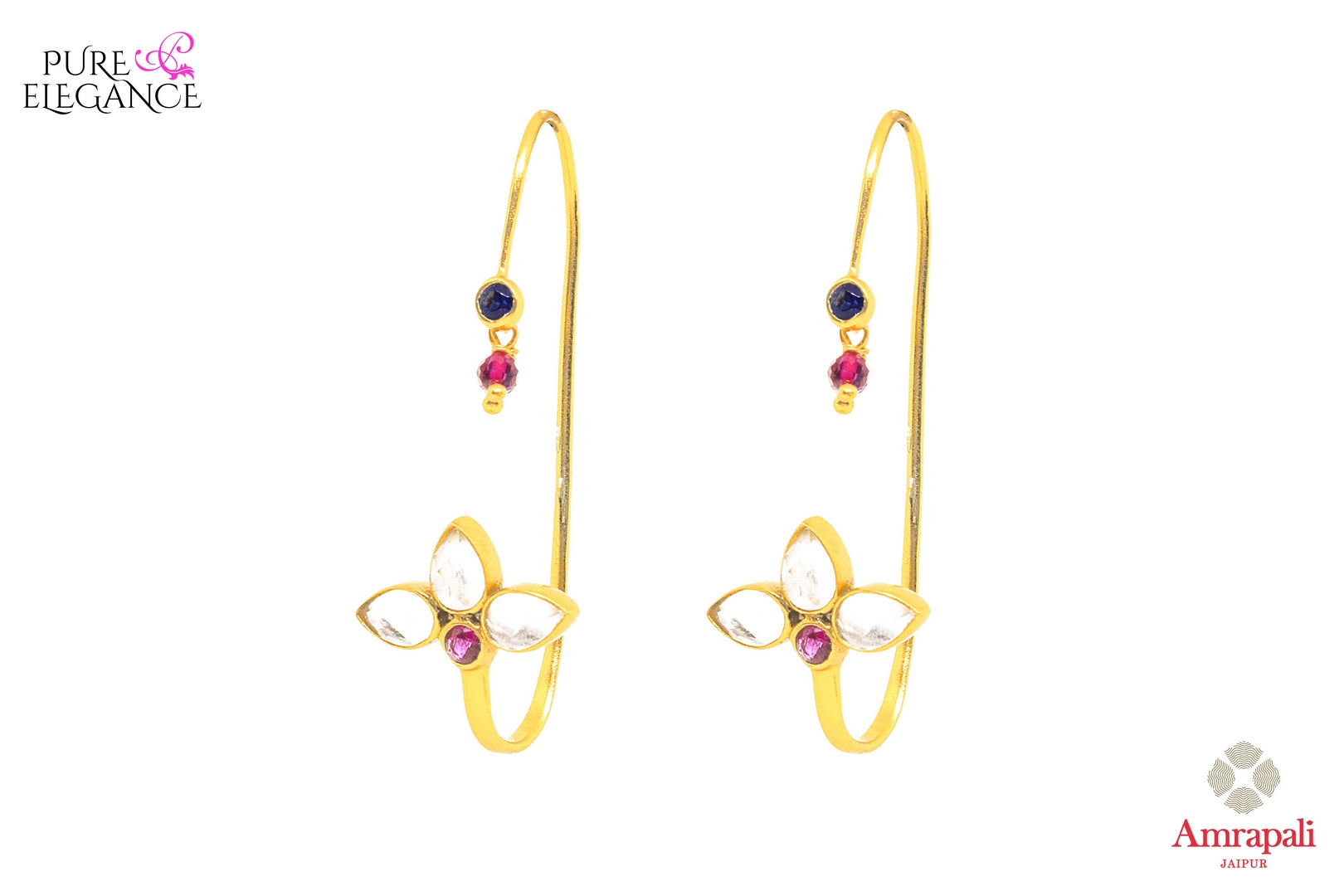 Buy silver gold plated hoop shape glass earrings online in USA from Amrapali. If you are looking for Indian silver gold plated jewelry in USA, then Pure Elegance Indian fashion store is the place for you. A whole range of exquisite of traditional Indian jewellery is waiting for you on our shelves, you can also opt to shop online.-front view