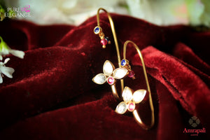 Buy silver gold plated hoop shape glass earrings online in USA from Amrapali. If you are looking for Indian silver gold plated jewelry in USA, then Pure Elegance Indian fashion store is the place for you. A whole range of exquisite of traditional Indian jewellery is waiting for you on our shelves, you can also opt to shop online.-flat lay