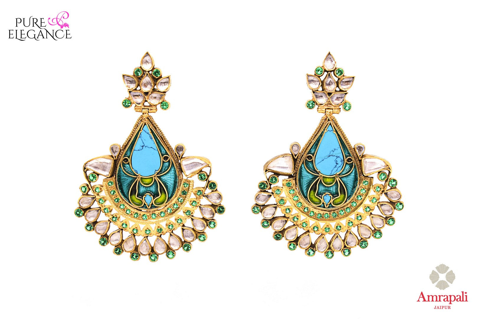 Beautiful silver gold plated enamel glass earrings buy online in USA from Amrapali. If you are looking for Indian earrings in USA, then Pure Elegance Indian fashion store is the place for you. A whole range of exquisite of ethnic Indian wedding jewelry is waiting for you on our shelves, you can also opt to shop online.-front view