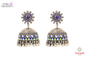 Buy Chic Silver Enamel Jhumki Earrings online in USA from Amrapali.  If you are looking for Indian silver earrings in USA, then Pure Elegance Indian fashion store is the place for you. A whole range of exquisite of ethnic Indian jewelry is waiting for you on our shelves, you can also opt to shop online. -full view