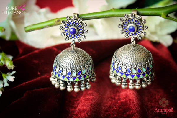 Buy Chic Silver Enamel Jhumki Earrings online in USA from Amrapali.  If you are looking for Indian silver earrings in USA, then Pure Elegance Indian fashion store is the place for you. A whole range of exquisite of ethnic Indian jewelry is waiting for you on our shelves, you can also opt to shop online. -flat lay