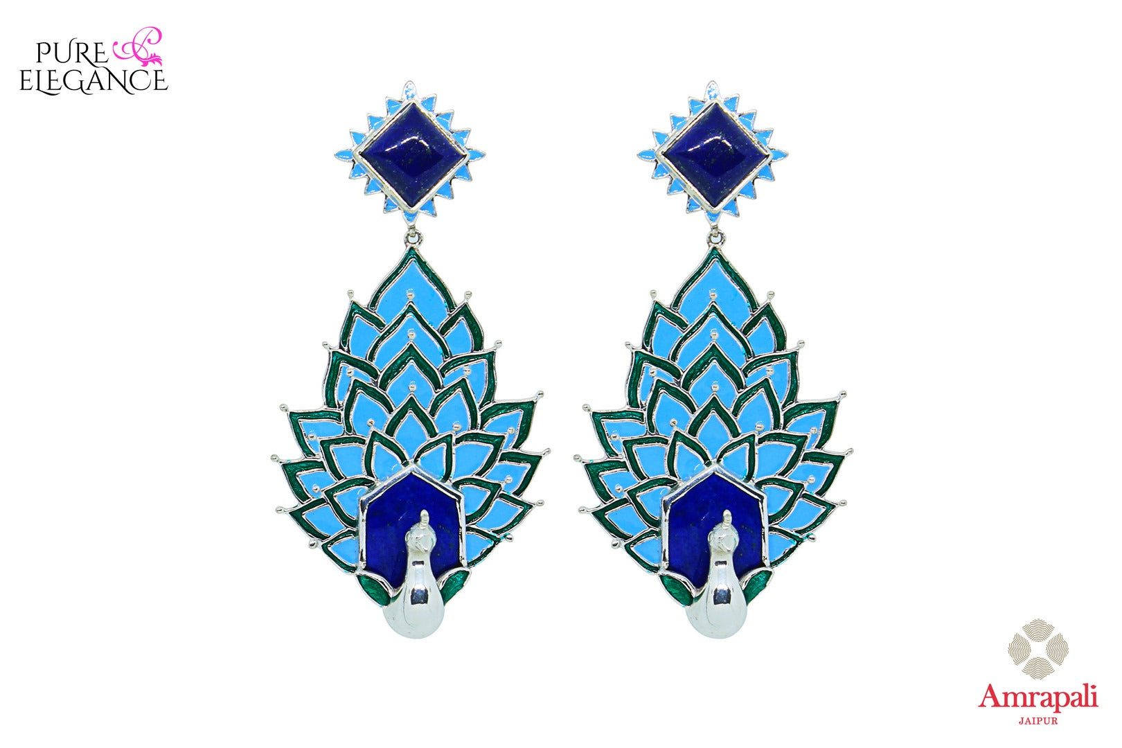 Buy Silver Enamel Peacock Lapis Earrings online in USA from Amrapali.  If you are looking for Indian silver earrings in USA, then Pure Elegance Indian fashion store is the place for you. A whole range of exquisite of ethnic Indian jewelry is waiting for you on our shelves, you can also opt to shop online. -full view