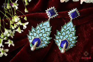 Buy Silver Enamel Peacock Lapis Earrings online in USA from Amrapali.  If you are looking for Indian silver earrings in USA, then Pure Elegance Indian fashion store is the place for you. A whole range of exquisite of ethnic Indian jewelry is waiting for you on our shelves, you can also opt to shop online.-flat lay
