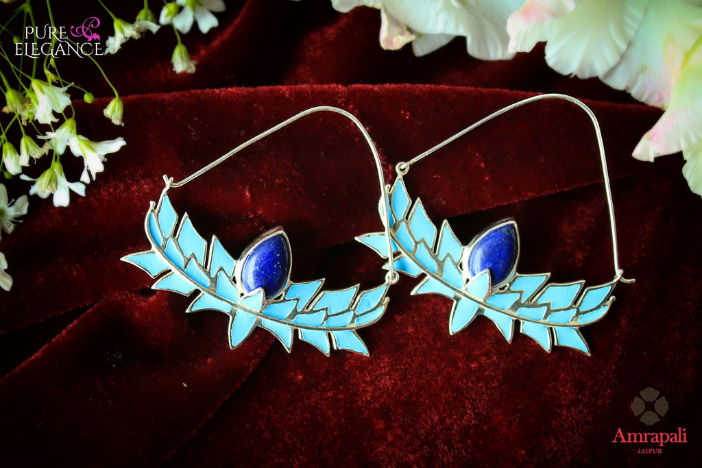 Shop Silver Enamel Lapis Lotus Hoop Earrings online in USA from Amrapali.  If you are looking for Indian silver earrings in USA, then Pure Elegance Indian fashion store is the place for you. A whole range of exquisite of ethnic Indian jewelry is waiting for you on our shelves, you can also opt to shop online.-flat lay