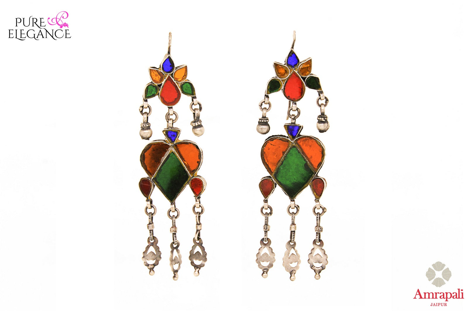 Buy Silver Multi Color Glass Earrings online in USA from Amrapali.  If you are looking for Indian silver earrings in USA, then Pure Elegance Indian fashion store is the place for you. A whole range of exquisite of ethnic Indian jewelry is waiting for you on our shelves, you can also opt to shop online. -full view