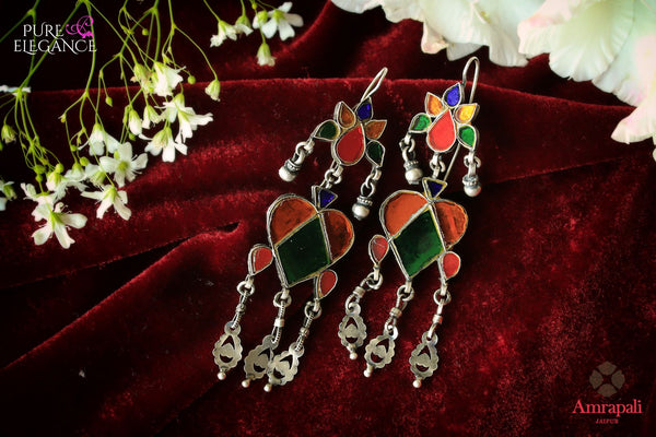 Buy Silver Multi Color Glass Earrings online in USA from Amrapali.  If you are looking for Indian silver earrings in USA, then Pure Elegance Indian fashion store is the place for you. A whole range of exquisite of ethnic Indian jewelry is waiting for you on our shelves, you can also opt to shop online.-flat lay
