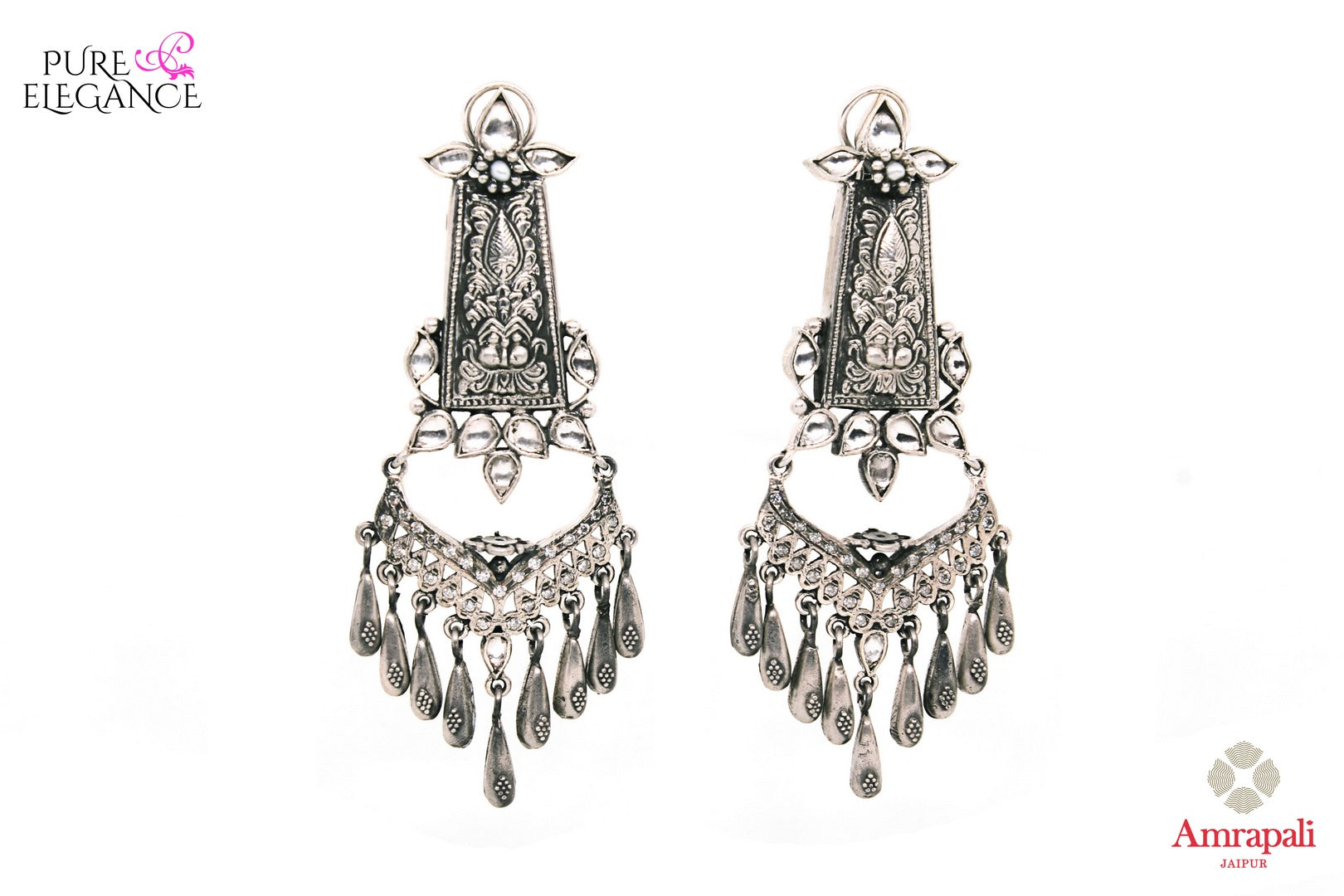 Buy Magnificent Silver Earrings With White Glass online in USA from Amrapali.  If you are looking for Indian silver earrings in USA, then Pure Elegance Indian fashion store is the place for you. A whole range of exquisite of ethnic Indian jewelry is waiting for you on our shelves, you can also opt to shop online.- full view
