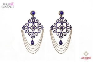 Buy Silver Enamel Motif Lapis Earrings online in USA from Amrapali.  If you are looking for Indian silver earrings in USA, then Pure Elegance Indian fashion store is the place for you. A whole range of exquisite of ethnic Indian jewelry is waiting for you on our shelves, you can also opt to shop online.-full view