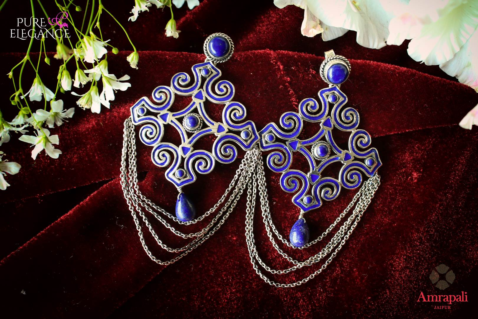 Buy Silver Enamel Motif Lapis Earrings online in USA from Amrapali.  If you are looking for Indian silver earrings in USA, then Pure Elegance Indian fashion store is the place for you. A whole range of exquisite of ethnic Indian jewelry is waiting for you on our shelves, you can also opt to shop online.-flat lay