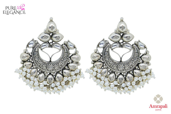 Buy Silver Pearl Drops Glass Chandbali Earrings online in USA from Amrapali.  If you are looking for Indian silver earrings in USA, then Pure Elegance Indian fashion store is the place for you. A whole range of exquisite of ethnic Indian jewelry is waiting for you on our shelves, you can also opt to shop online. -full view