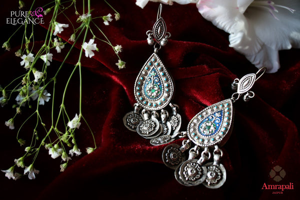 Buy Silver Turquoise Jhumka Earrings online in USA from Amrapali.  If you are looking for Indian silver earrings in USA, then Pure Elegance Indian fashion store is the place for you. A whole range of exquisite of ethnic Indian jewelry is waiting for you on our shelves, you can also opt to shop online.-flat lay
