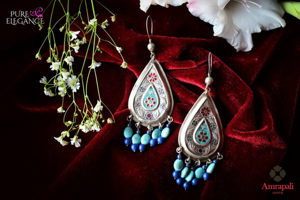Buy Silver Turquoise and Lapis Drop Earrings online in USA from Amrapali.  If you are looking for Indian silver earrings in USA, then Pure Elegance Indian fashion store is the place for you. A whole range of exquisite of ethnic Indian jewelry is waiting for you on our shelves, you can also opt to shop online.-flat lay