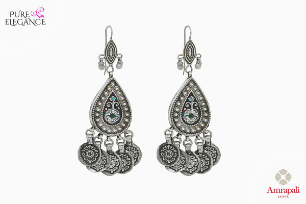 Buy Silver Pear Shaped Jhumka Earrings online in USA from Amrapali.  If you are looking for Indian silver earrings in USA, then Pure Elegance Indian fashion store is the place for you. A whole range of exquisite of ethnic Indian jewelry is waiting for you on our shelves, you can also opt to shop online.-full view
