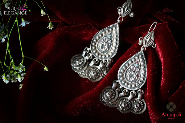 Buy Silver Pear Shaped Jhumka Earrings online in USA from Amrapali.  If you are looking for Indian silver earrings in USA, then Pure Elegance Indian fashion store is the place for you. A whole range of exquisite of ethnic Indian jewelry is waiting for you on our shelves, you can also opt to shop online.-flat lay