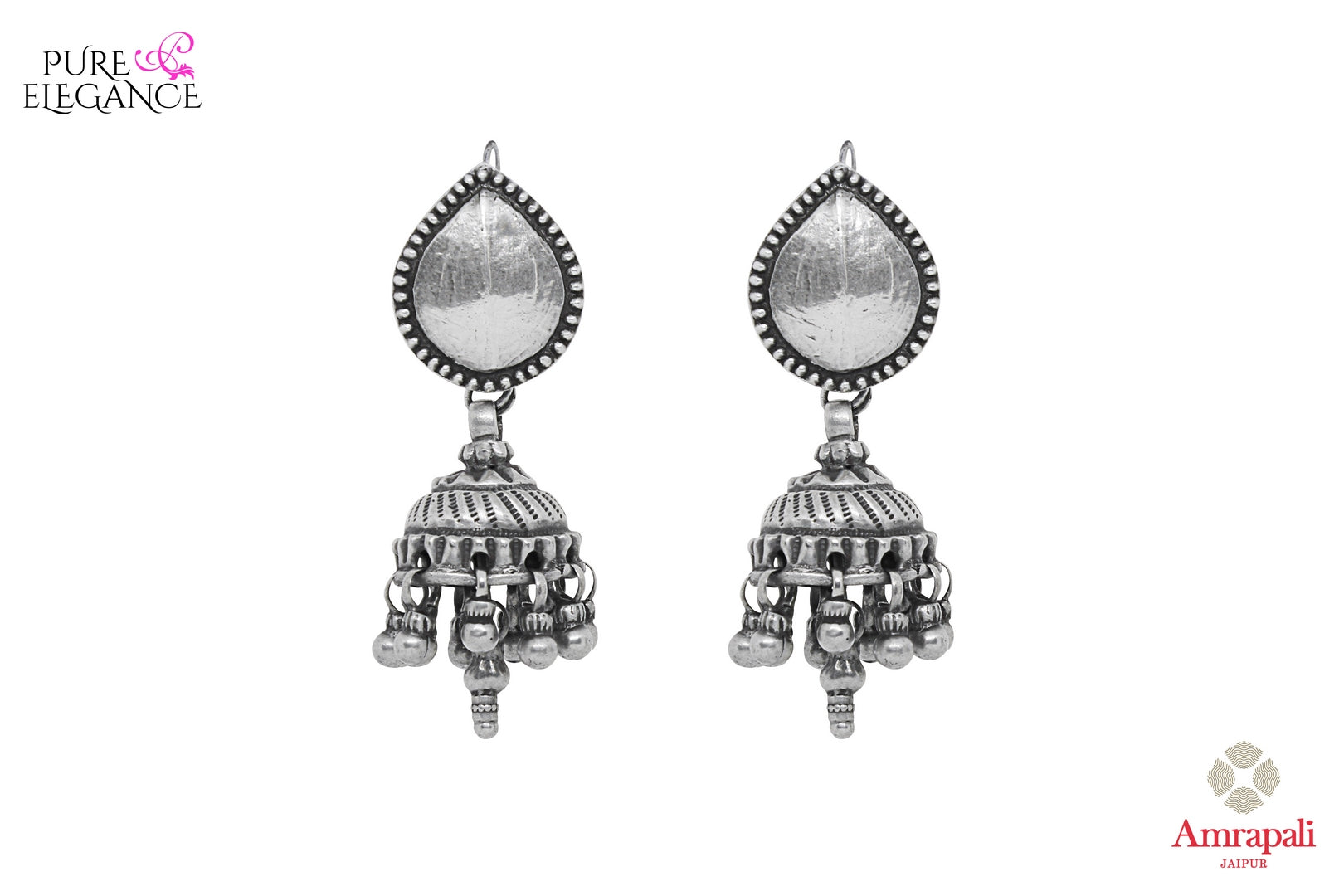Buy online Silver Tribal Jhumka Earrings in USA from Amrapali.  If you are looking for Indian silver earrings in USA, then Pure Elegance Indian fashion store is the place for you. A whole range of exquisite of ethnic Indian jewelry is waiting for you on our shelves, you can also opt to shop online.-full view