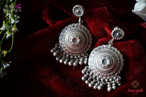 Buy online Silver Disc Ball Drop Earrings in USA from Amrapali.  If you are looking for Indian silver earrings in USA, then Pure Elegance Indian fashion store is the place for you. A whole range of exquisite of ethnic Indian jewelry is waiting for you on our shelves, you can also opt to shop online.-flat lay