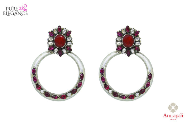 Buy Silver Pink Glass Moon Earring online in USA from Amrapali.  If you are looking for Indian silver earrings in USA, then Pure Elegance Indian fashion store is the place for you. A whole range of exquisite of ethnic Indian jewelry is waiting for you on our shelves, you can also opt to shop online.-full view
