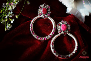 Buy Silver Pink Glass Moon Earring online in USA from Amrapali.  If you are looking for Indian silver earrings in USA, then Pure Elegance Indian fashion store is the place for you. A whole range of exquisite of ethnic Indian jewelry is waiting for you on our shelves, you can also opt to shop online.-flat lay