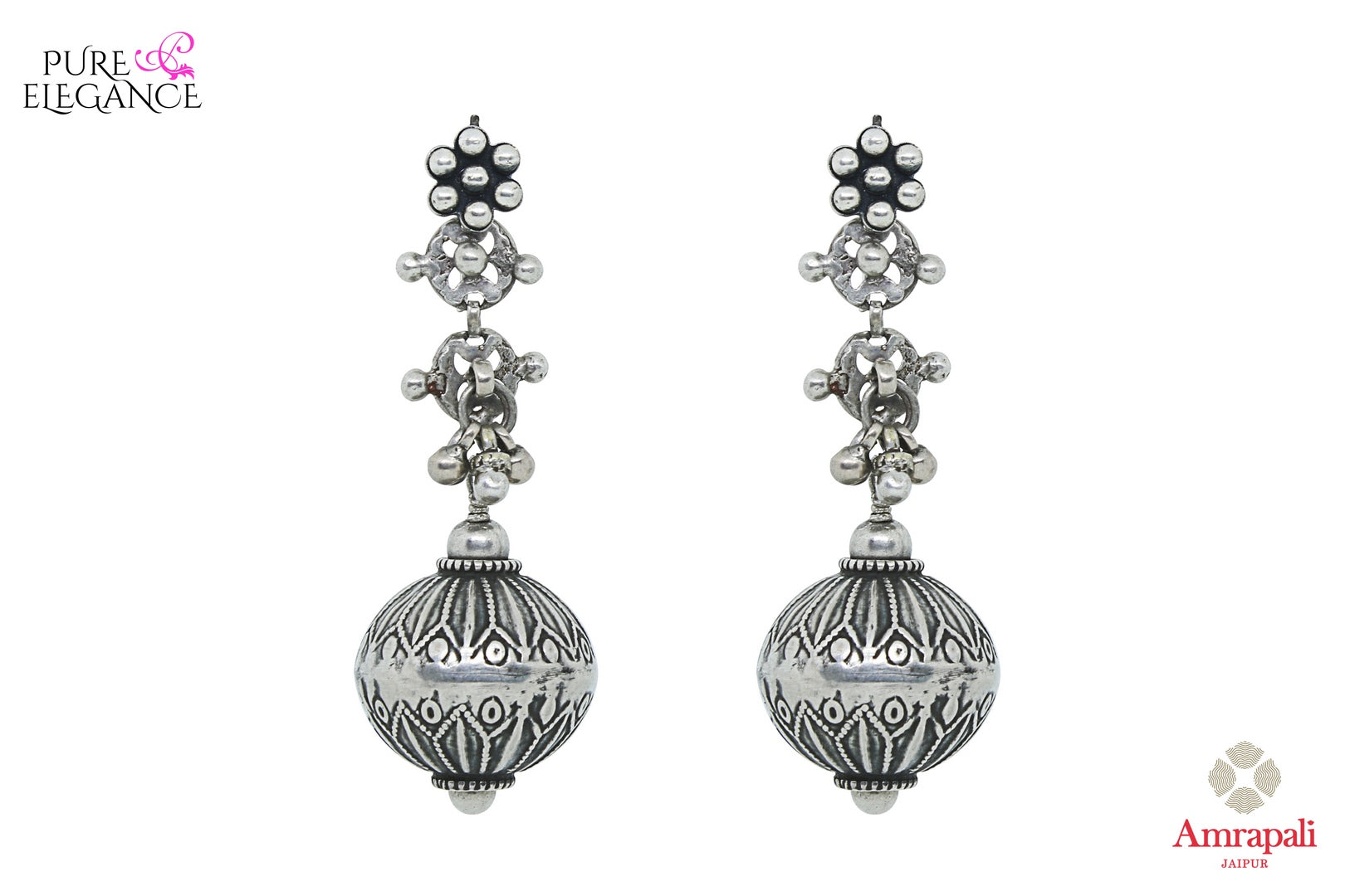 Buy Silver Floral Textured Hanging Ball Earrings online in USA from Amrapali.  If you are looking for Indian silver earrings in USA, then Pure Elegance Indian fashion store is the place for you. A whole range of exquisite of ethnic Indian jewelry is waiting for you on our shelves, you can also opt to shop online.-full view