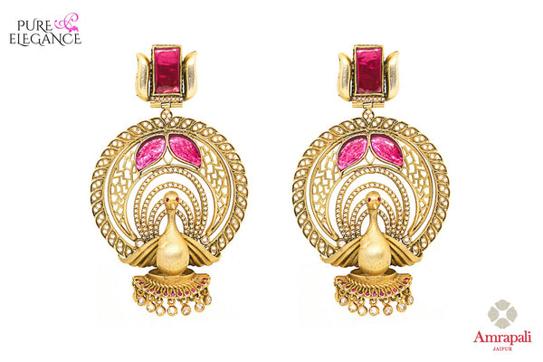 Buy Silver Gold Plated Pink White Peacock Earrings online in USA from Amrapali.  If you are looking for Indian silver earrings in USA, then Pure Elegance Indian fashion store is the place for you. A whole range of exquisite of ethnic Indian jewelry is waiting for you on our shelves, you can also opt to shop online.-full view