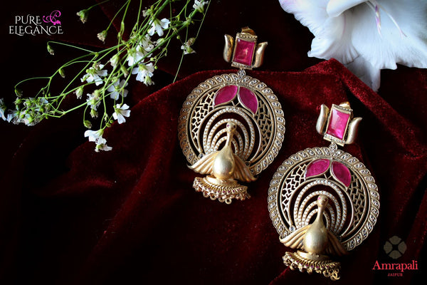 Buy Silver Gold Plated Pink White Peacock Earrings online in USA from Amrapali.  If you are looking for Indian silver earrings in USA, then Pure Elegance Indian fashion store is the place for you. A whole range of exquisite of ethnic Indian jewelry is waiting for you on our shelves, you can also opt to shop online.-flat lay
