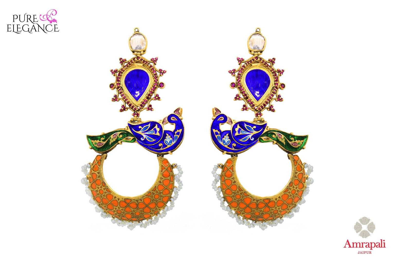 Buy Silver Gold Plated Enamel Glass Peacock Earrings online in USA from Amrapali.  If you are looking for Indian silver earrings in USA, then Pure Elegance Indian fashion store is the place for you. A whole range of exquisite of ethnic Indian jewelry is waiting for you on our shelves, you can also opt to shop online.-full view