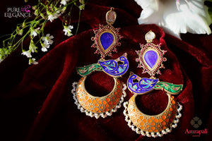 Buy Silver Gold Plated Enamel Glass Peacock Earrings online in USA from Amrapali.  If you are looking for Indian silver earrings in USA, then Pure Elegance Indian fashion store is the place for you. A whole range of exquisite of ethnic Indian jewelry is waiting for you on our shelves, you can also opt to shop online.-flat lay