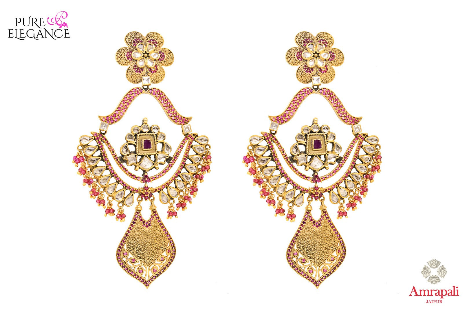 Buy Silver Gold Plated Pink White Glass Earrings online in USA from Amrapali.  If you are looking for Indian silver earrings in USA, then Pure Elegance Indian fashion store is the place for you. A whole range of exquisite of ethnic Indian jewelry is waiting for you on our shelves, you can also opt to shop online.-full view