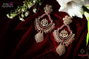 Buy Silver Gold Plated Pink White Glass Earrings online in USA from Amrapali.  If you are looking for Indian silver earrings in USA, then Pure Elegance Indian fashion store is the place for you. A whole range of exquisite of ethnic Indian jewelry is waiting for you on our shelves, you can also opt to shop online.-flat lay