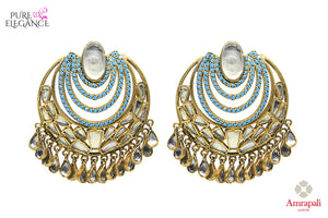 Buy Silver Gold Plated Glass Blue Zircon Earrings online in USA from Amrapali.  If you are looking for Indian silver earrings in USA, then Pure Elegance Indian fashion store is the place for you. A whole range of exquisite of ethnic Indian jewelry is waiting for you on our shelves, you can also opt to shop online.-full view