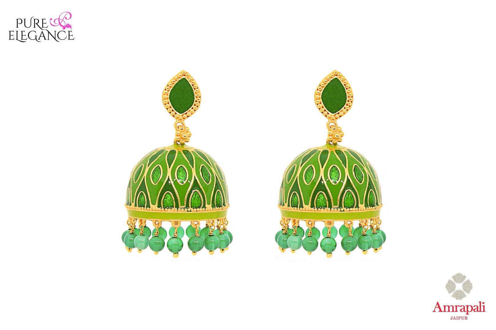 Buy Silver Gold Plated Green Onyx and Enamel Jhumka Earrings online in USA from Amrapali.  If you are looking for Indian silver earrings in USA, then Pure Elegance Indian fashion store is the place for you. A whole range of exquisite of ethnic Indian jewelry is waiting for you on our shelves, you can also opt to shop online.-full view