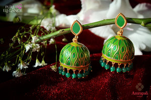 Buy Silver Gold Plated Green Onyx and Enamel Jhumka Earrings online in USA from Amrapali.  If you are looking for Indian silver earrings in USA, then Pure Elegance Indian fashion store is the place for you. A whole range of exquisite of ethnic Indian jewelry is waiting for you on our shelves, you can also opt to shop online.-flat lay