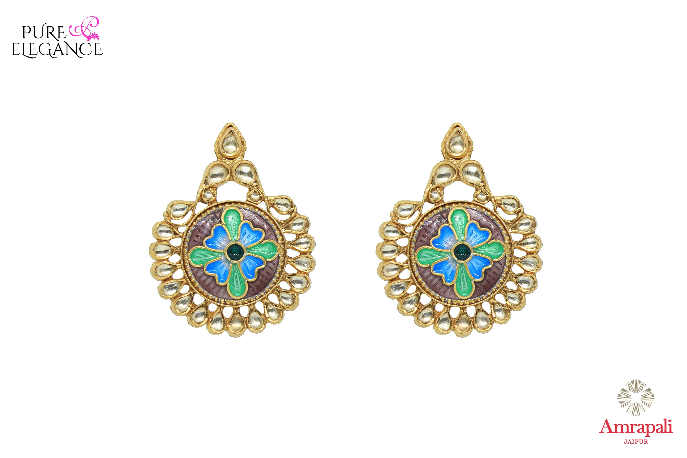 Buy beautiful silver gold plated enamel floral glass earrings online in USA. Bring out the best in your ethnic look with traditional Indian jewelry by Amrapali available at Pure Elegance fashion store in USA. We have a stunning variety of Indian silver gold plated jewellery also available at our online store. Shop now.-front view