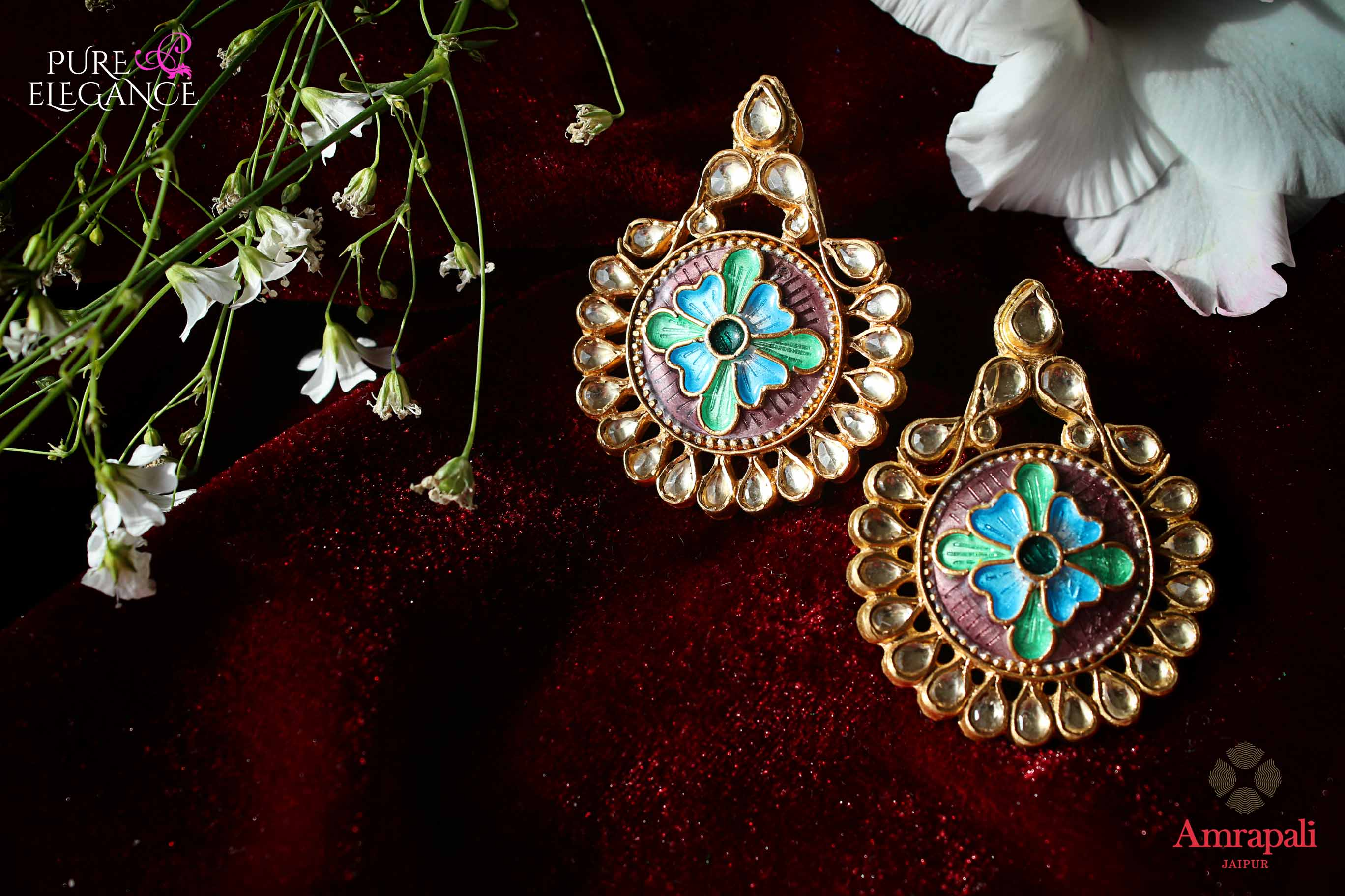 Buy beautiful silver gold plated enamel floral glass earrings online in USA. Bring out the best in your ethnic look with traditional Indian jewelry by Amrapali available at Pure Elegance fashion store in USA. We have a stunning variety of Indian silver gold plated jewellery also available at our online store. Shop now.-full view