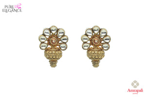 Buy silver gold plated floral earrings online in USA. Bring out the best in your ethnic look with traditional Indian jewelry by Amrapali available at Pure Elegance fashion store in USA. We have a stunning variety of Indian silver gold plated jewellery also available at our online store. Shop now.-front view