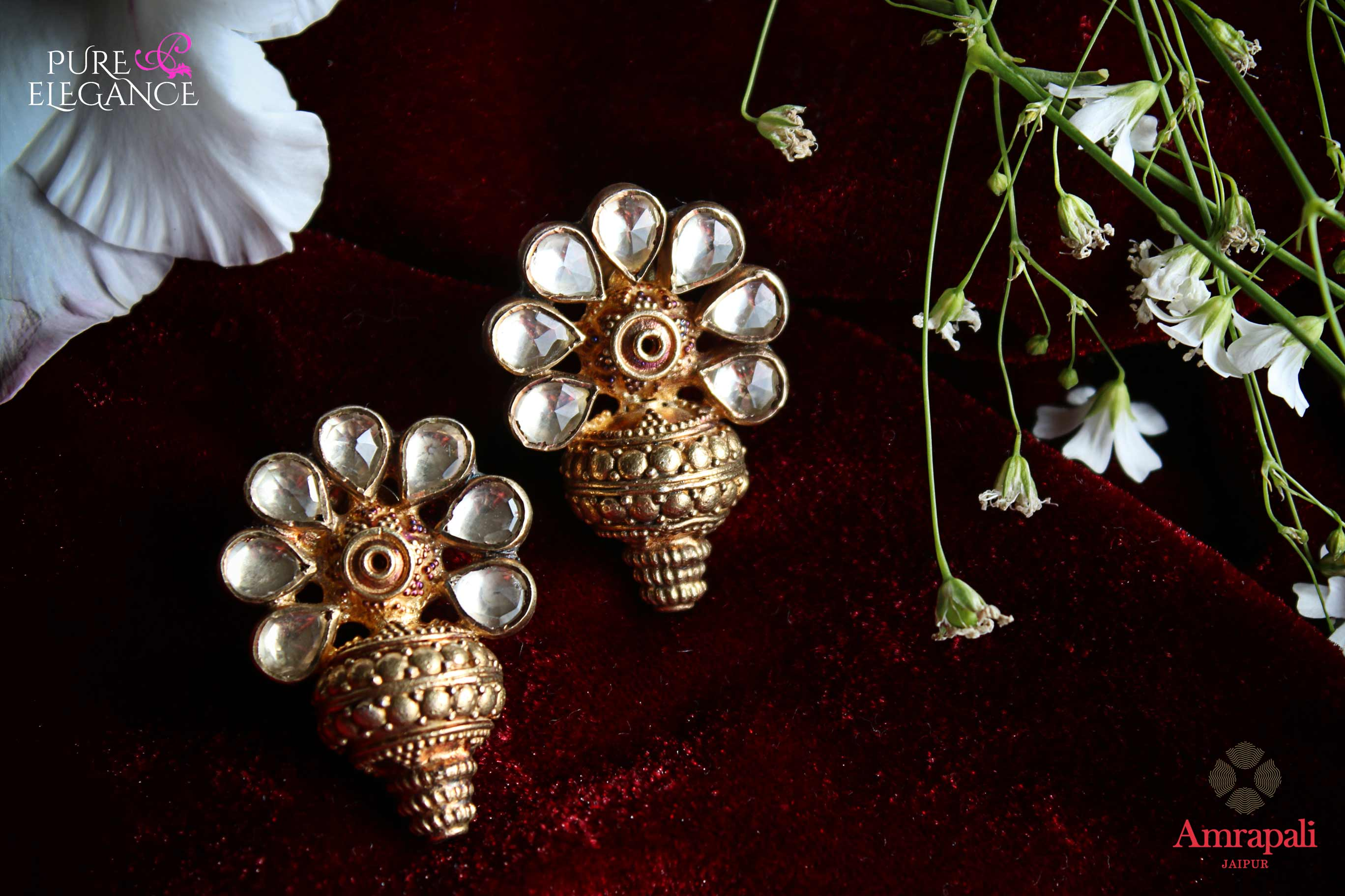 Buy silver gold plated floral earrings online in USA. Bring out the best in your ethnic look with traditional Indian jewelry by Amrapali available at Pure Elegance fashion store in USA. We have a stunning variety of Indian silver gold plated jewellery also available at our online store. Shop now.-full view