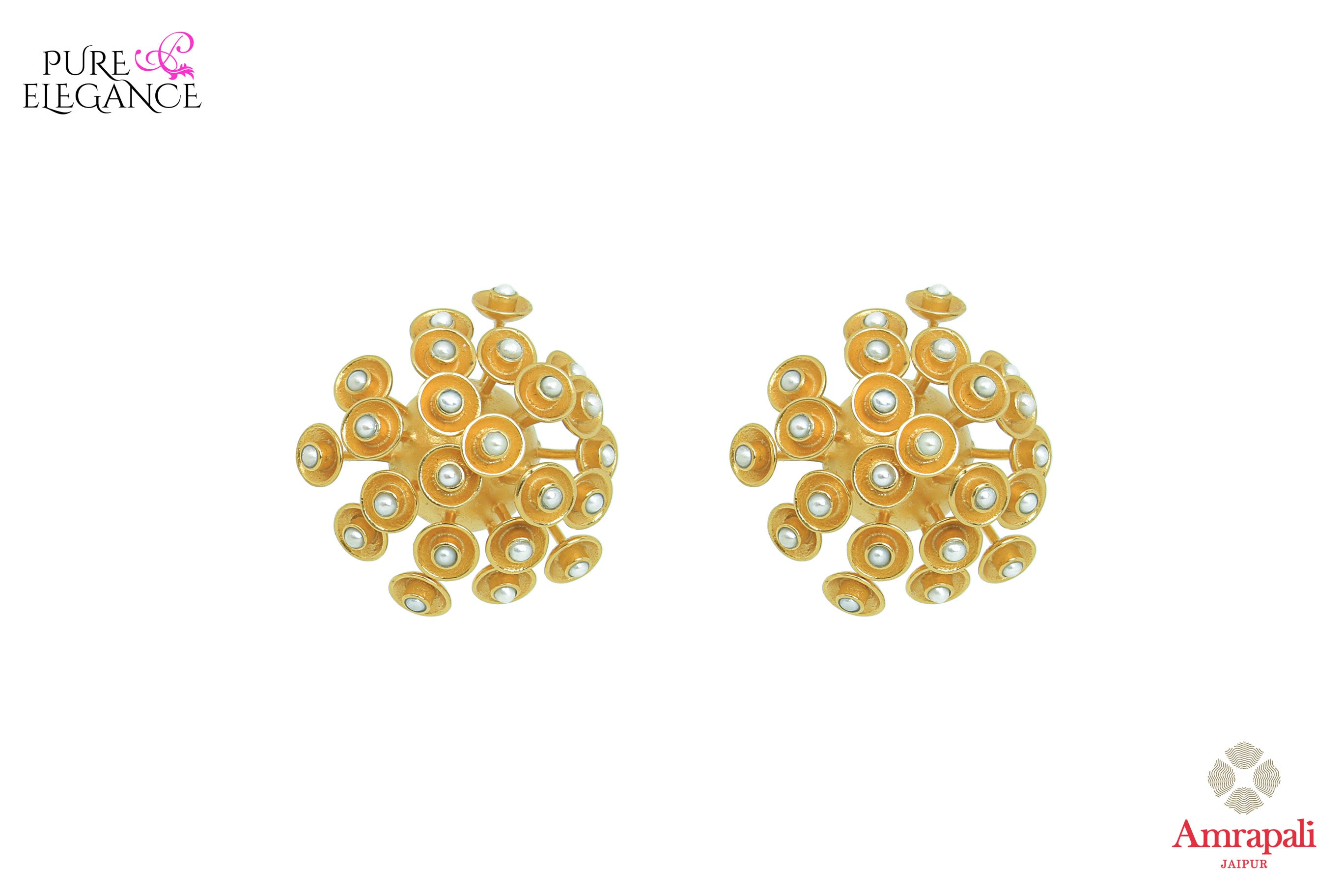 20B658 Silver Gold Plated Spiky Stud Earrings with Pearls