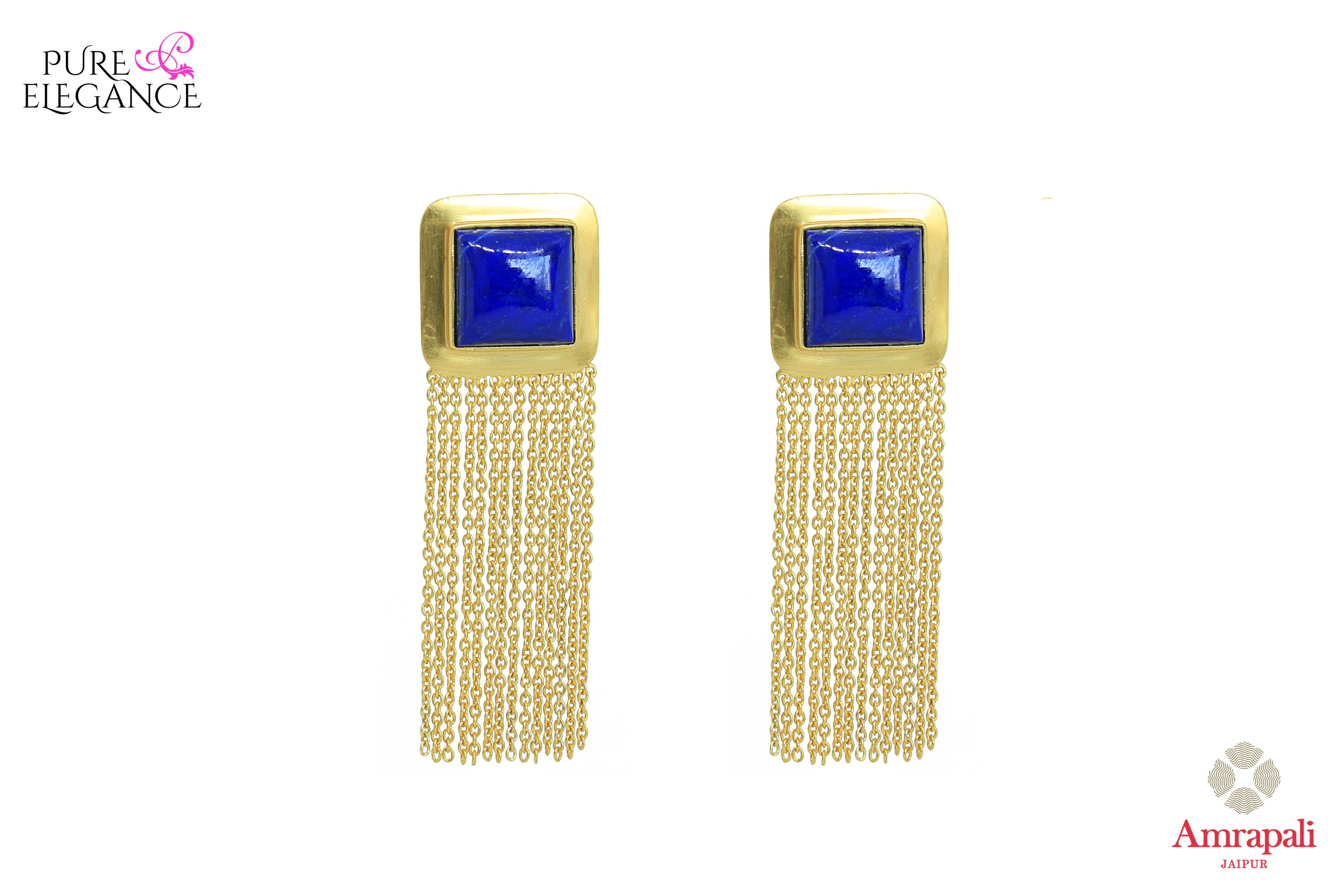 Buy silver gold plated tassel earrings online in USA with lapis stone. Bring out the best in your ethnic look with traditional Indian jewelry by Amrapali available at Pure Elegance fashion store in USA. We have a stunning variety of Indian gold plated jewellery also available at our online store. Shop now.-front view