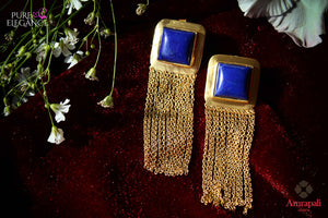 Buy silver gold plated tassel earrings online in USA with lapis stone. Bring out the best in your ethnic look with traditional Indian jewelry by Amrapali available at Pure Elegance fashion store in USA. We have a stunning variety of Indian gold plated jewellery also available at our online store. Shop now.-full view